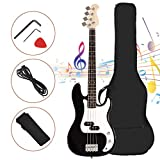Full Size 4 String Electric Bass Guitar, Safeplus Rosewood Polished Electric Guitar with Bag, Strap, Pickup, Amp Cord for Beginners (Black)