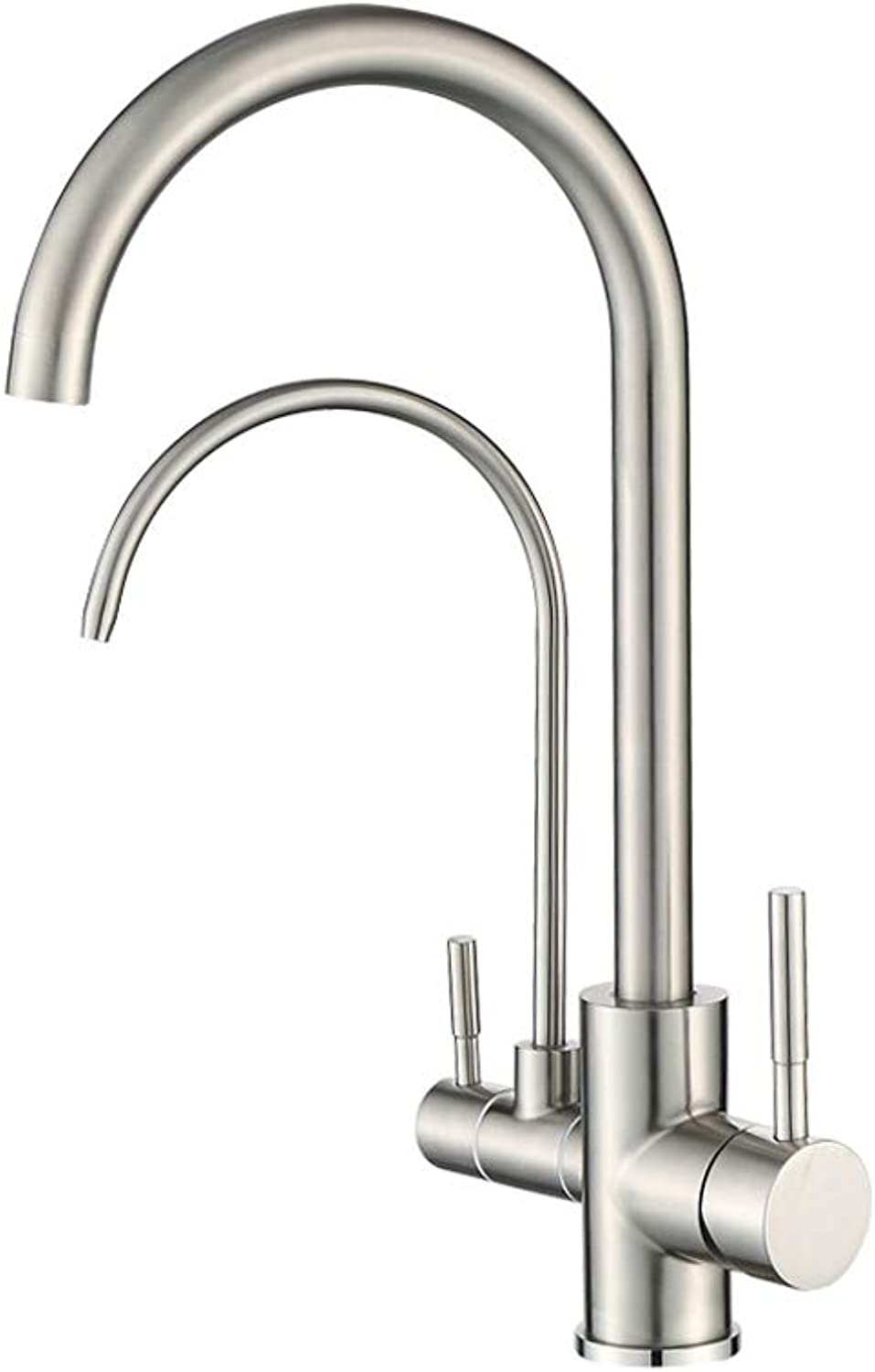 GFFXIXI 3 Way Water Filter Tap Kitchen Drinking Taps Sink Mixer Brass Swivel Spout with 2 Handles, Stainless Steel