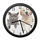 Dadidyc Cute Animal Cat and Dog Wall Clock, Silent Non Ticking Battery Operated Easy to Read Decorative Wall Clock for Kitchen Bedroom Bathroom Living Room Classroom 10IN