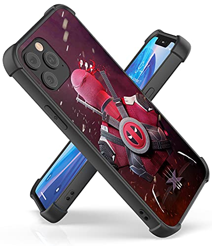 Fit for iPhone 12 and 12 Pro Case (6.1') with 4 Corners Shockproof Protection Anime Design Customization Cases for Men and Women (03-Avengers-Deadpool)