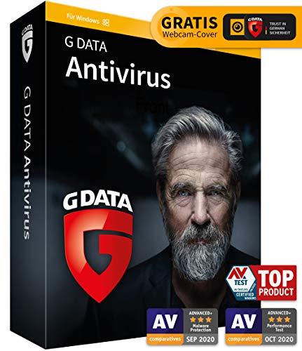 G DATA Antivirus 2021, 3 PCs - 1 Jahr, DVD-ROM inkl. Webcam-Cover, Virenschutzprogramm für Windows 10 / 8 / 7, Made in Germany - zukünftige Updates inklusive