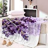 ZFSZSD Kuscheldecke Lila und Lavendel Felldecke Wohndecke Fleecedecke Sofadecke Tages Klimaanlage Decke Leicht für Couch Bett 59x78.7 inch