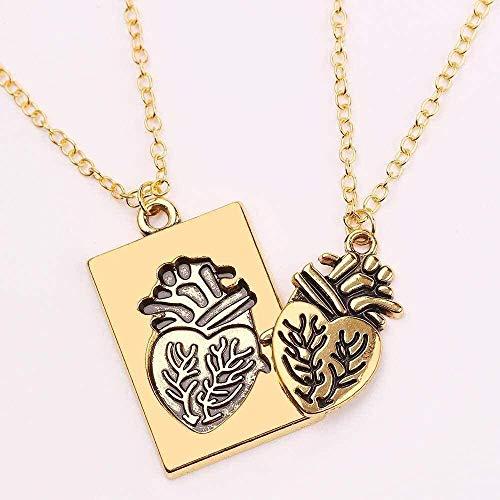 ZHIFUBA Co.,Ltd Necklace 2 Pcs/Set Anatomical Heart Necklace Puzzle Heart Couple Collares Pendant Jewelry Women Men Necklaces Gifts