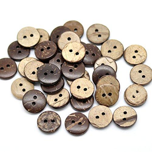 Da.Wa 200 botones de madera de 13 mm, 2 agujeros, botones de madera, botones para manualidades, tejer, ropa de bebé (marrón)