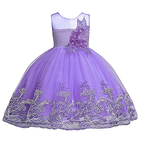 Halloween Christmas Dresses for Girls Size 5 Special Occasion Easter Pageant Party Dress 4 5 Years Old O Neck for Girls Wedding Holiday Dressy Pretty Dress Floral Prom Ball Gowns (Purple, 120)