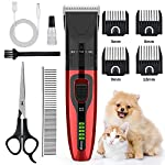 【Safe and Sharp Clipping Blade】-AUSHEN dog clippers has sharp yet skin-friendly ceramic blade,upgrade stainless steel fixed blade and ceramic moving blade can provide excellent cutting performance. 【Adjustable Size Blade and Low Noise】-Pet clippers f...