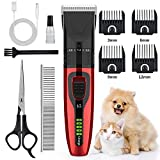 Dog Clippers,AUSHEN Dog Grooming Clippers Kit Washable,Dog Hair Trimmer USB Rechargeable Cordless Low