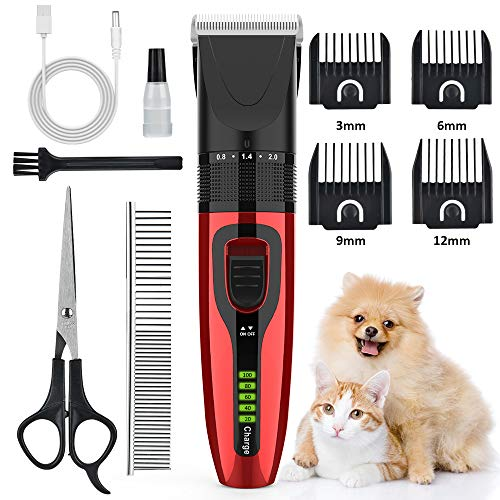 AUSHEN Dog Clippers, Dog Grooming Clippers Kit Low Noise Pet Hair Clippers USB Rechargeable Cordless Professional Pet Grooming Kit for Small Medium Large Pets Dogs Cats