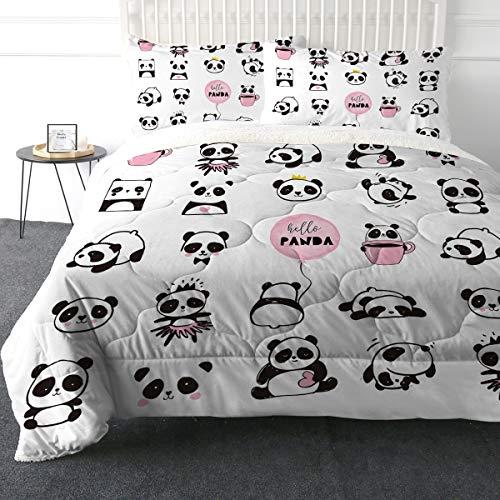ARIGHTEX Super Soft Sherpa Comforter Bettwäsche-Set, 3D, leicht, Fuzzy Bettdecken, Polyester-Füllung, Tagesdecken mit 2 Kissenbezügen Full Süßes Panda-Herz