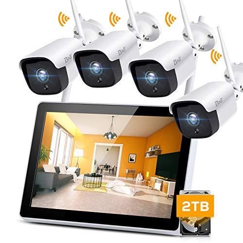 【AI人体感知・双方向通話】BNT 300万画素 ワイヤレス 防犯カメラ 双方向通話 AI人体検知 12インチモニター 監視カメラ4台セット 2TB HDD内蔵 8CHレコーダー 増設可能 IP67防水防塵 赤外線 最大8TB対応(3MP·双方向通話カメラ4台+ 2TB HDD)