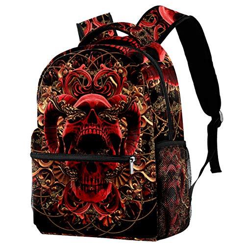 12' School Backpack College Travel Bag for Women & Men,Red Gold Skull