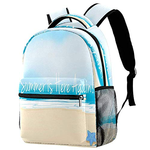Ver Verano Mochila Escolar Mochila Libro Bolsa Casual Daypack para Viajes, motivo 1 (Multicolor) - bbackpacks004