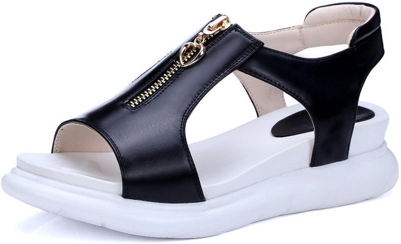 WeenFashion Women's Open Toe Low Heels Zipper Solid Sandals