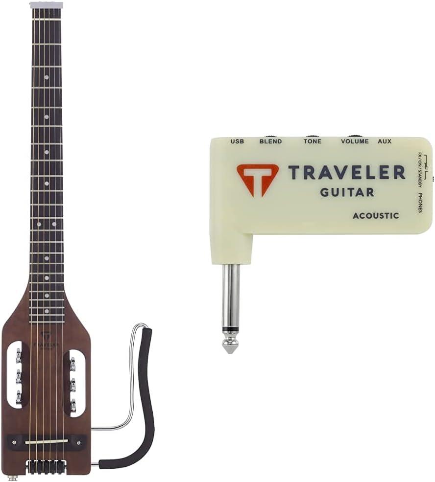 Traveler Guitar Ultra-Light Acoustic Acoustic-Electric Guitar /& Traveler Guitar 0-String TGA-1A Acoustic Headphone amp