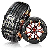 MATCC Tire Snow Chains Anti Slip Tire Chains Safety Emergency Snow Chains Adjustable for Cars SUV Truck on Snow, Ice Road and Mud Sand with Upgrade TPU Width 6.5''-10.43'' (6 Pack for 2 Tires)