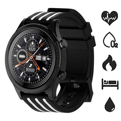 Reloj inteligente Fitness Tracker con pulsómetro de muñeca, podómetro, presión sanguínea, oxígeno en la sangre, impermeable IP68, deportivo, rastreador de actividad para Android y iOS