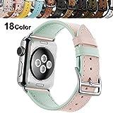 Chok Idea Klassisch Echtes Leder Uhrenarmbnder Compatible with Apple Watch Armband 44mm 42mm,Women...