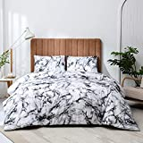 Argstar 3 Pcs Marble Comforter Set Queen, Grey Black and White Marble Reversible Down Alternative Bedding Comforter, Soft Microfiber Abstract Duvet with 2 Pillowcases for Women Men and Kids