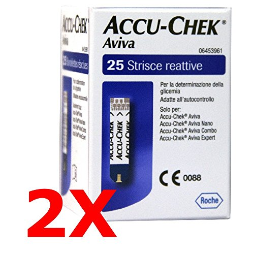 2X ACCU CHEK AVIVA DA 25 - 50 Tiras Reactivos para Prueba Glicemia - ACCU COMPROBAR