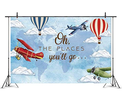 Cartoon Plane Hot Air Balloon Backdrop Photography Photo Background Bridal Baby Shower Birthday Party Decoration Banner Background 7X5Ft