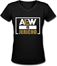 ThomLarryCA Aew is Jericho Womens Summer Short Sleeve Soft Casual Tee V-Neck T-Shirt Black