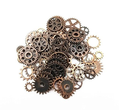 Antique Steampunk Gears Charms Pendant Clock Watch Wheel Gear for Crafting Jewelry Making Diameter: 10mm-26mm Copper color alloy metal Package includes: 100g assorted gears (approx 70pcs) Perfect for scrapbooking project, necklace pendant drop, jewel...