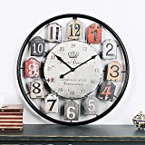 Outdoor Garden Wall Clock, 20in Retro Large Creative Gear Garden Wall Clock Vintage Outdoor Clock Round Silent Wrought Iron Hollow Clock for Home Living Room Cafe Bar