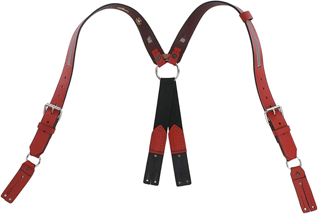 Boston Leather TheFireStore Exclusive Red Leather Fireman's Suspender - Loop Attachment, Regular, Reflective, Red