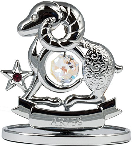 Rieser Interieur Sternzeichen Widder Figur mit Kristallen silberfarben Made with Swarovski Elements