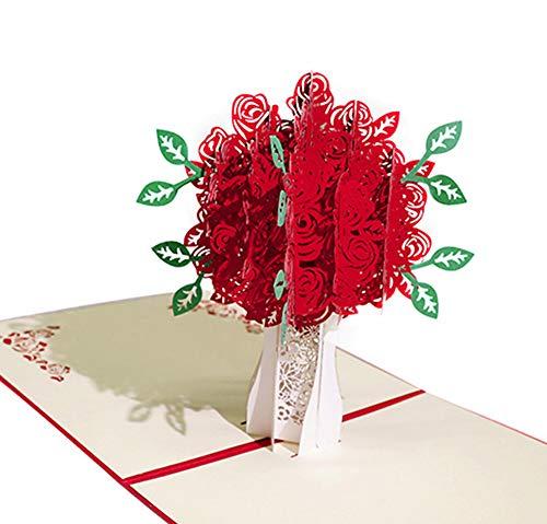 Karte zum Valentinstag, Deesospro® Geburtstagskarte für Liebhaber, 3D Pop-Up-Grußkarte mit schönen Papier-Cut, beste Geschenk für den Geburtstag oder Jahrestag des Liebhabers (Strauß Rosen)