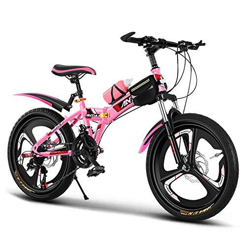 GZMUK Bicicleta De Montaña para Niños,Estructura De Acero Al Carbono,Frenos De Disco Delanteros Y Traseros Y Horquilla Delantera Amortiguadora,Rosado,22in