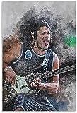 Iooie Mural con Estampado De Arte Robert Trujillo Famoso Guitarrista e Imagen para decoración de Dormitorio PóSter Lienzo Pintura Pared 23.6'x35.4'(60x90cm) Sin Marco