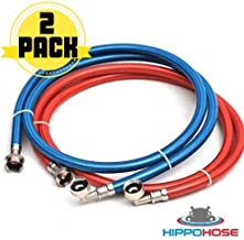 Washing Machine Hoses - PVC Covered Stainless Steel Braided 90 degree elbow Water Supply Line - Premium 6 ft Burst Proof (2 pack) with Hot and Cold Color Coded Third Layer