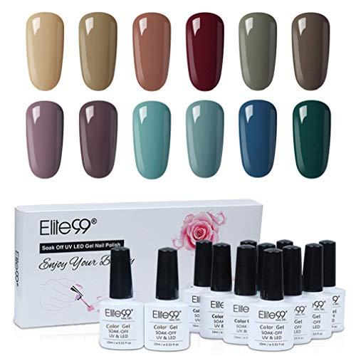 Elite99 Esmaltes Semipermanentes de Uñas en Gel UV LED, 12 Colores Kit de Esmaltes de Uñas 003