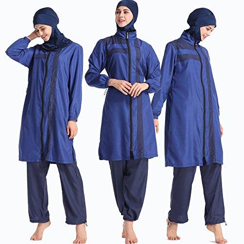 ziyimaoyi Bademode mit abnehmbarem Hijab Badeanzug, Islamischer Badeanzug, Bademode mit voller Länge, blau, XXXX-Large