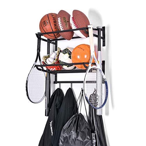 Sportausrüstung Lagerregal Garage Ball Lagerregal Wandhalterung Sportausrüstung Veranstalter mit Haken Basketball Fußballhalter Regal verstellbare Stange, aus robustem Eisen, 2 Gestelle, schwarz