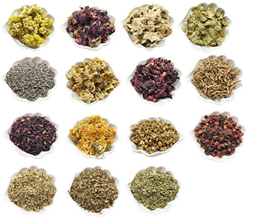 PEPPERLONELY 15 Packs Organic Kosher Certified Botanical Dried Edible Flowers & Herbs Sampler Kit - Lavender, Rose Buds & Petals, Chamomile, Calendula, etc