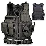 HCS4 Tactical Vest | Tactical Ultra-Light and Breathable | Airsoft Tactical | Multiple Magazine Pockets | Outdoor Activities | Gun Holster | Combat Training | Detachable Utility Belt