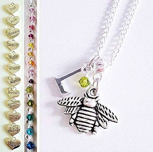 Handmade Bumble Queen Bee Jewellery for Women Silver Chain Personalised Necklace with New Genuine Crystal