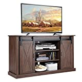 Tangkula Farmhouse Sliding Barn Door TV Stand, Vintage Rustic TV Cabinet Stand Fit Up to 60-inch TVs, Storage Cabinets with 2 Gliding Doors & Adjustable Shelves, Home Living Room Furniture (Espresso)