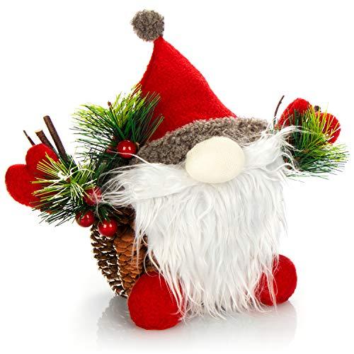 com-four® Weihnachtsmannfigur Größe L, winterliche Santa Claus-Figur mit Tannenzapfenkörper, weihnachtliche Dekoration, hinreißende Tischdeko zur Adventszeit (Santa L rot grün)