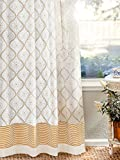 Saffron Marigold Vanilla Glace Long Curtains | Sheer White Golden Gossamer Trellis Quatrefoil Gold Lattice Curtain Panels | Hand Printed Semi Sheer Long Window Drapes 46 x 63