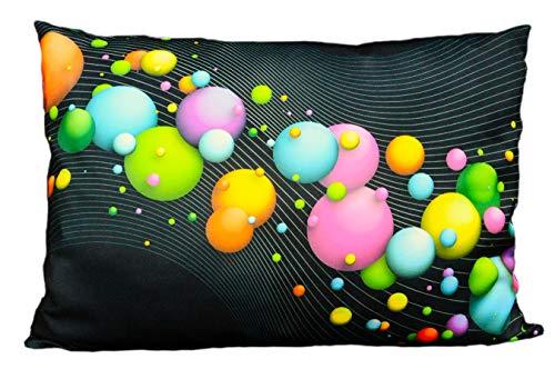 PSYWORK Negro Luz Cojín Neon Happy Bubbles, 70x 90cm