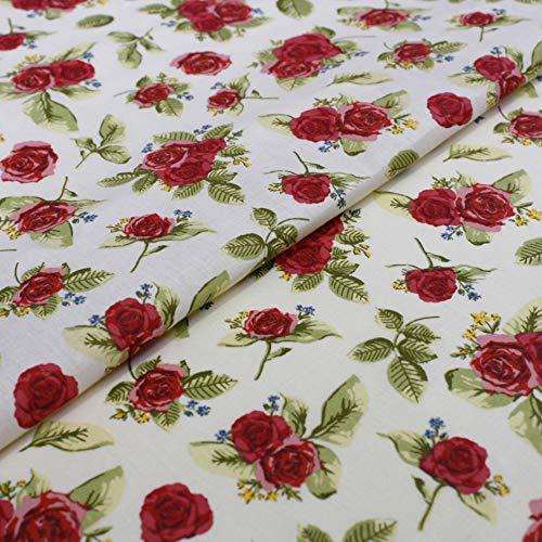 Hans-Textil-Shop 1 Meter Stoff Meterware Landhaus Rosen Blätter - Für Bekleidung, Deko, Bettwäche, Kissenbezüge (Rot)