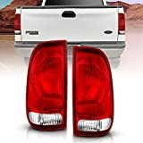 AmeriLite for Ford F-Series F150 F250 F350 SuperDuty Clear Red Factory Style OE Replacement Assembly Halogen Tail Lights Brake Lamps Set - Driver and Passenger Side