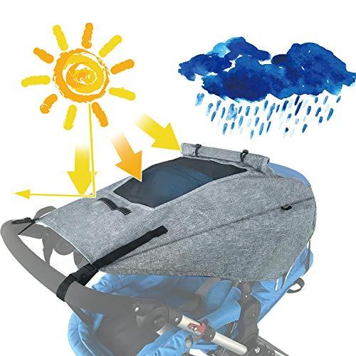 Universal Sonnensegel für Kinderwagen,Kinderwagen Sonnenschutz Abdeckung mit UV Schutz 50+, Verstellbar Sonnendach mit Sichtfenster und extra breiten Schattenflügel,Geschenk für Babys
