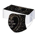 Silvester Erwachsene Einmal Gesichtsbandana 2021 Frohes Neues Jahr Drucken Unisex Komfortabel Atmungsaktiv 3-Schicht-Filter Vliesstoff + Schmelzgeblasener Staubdicht Bandana (50 PCS)
