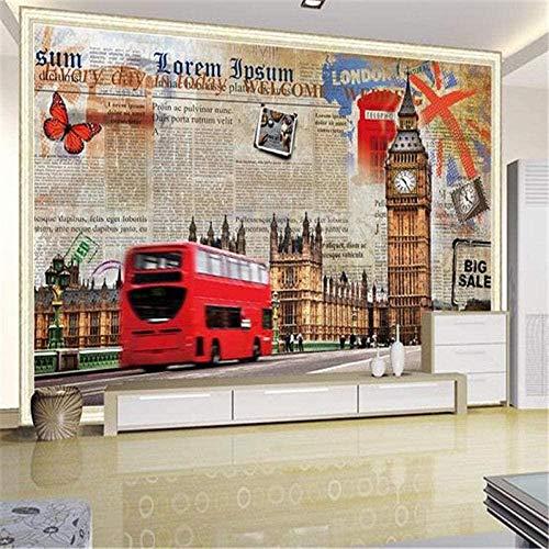 Murales de pared estereoscópicos 3D personalizados Murales de pared temáticos de la ciudad europea London St Pared Pintado Papel tapiz 3D Decoración dormitorio Fotomural sala sofá mural-300cm×210cm