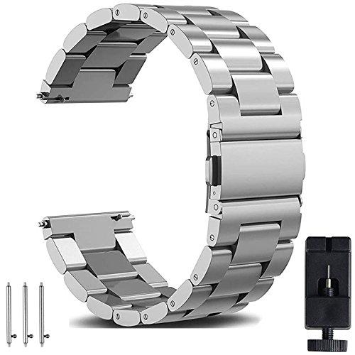 OTOPO - Correa de repuesto para reloj Galaxy Watch 3, 45 mm, correa de acero inoxidable, 22 mm, liberación rápida, correa de repuesto para Samsung Galaxy Watch 3, 45 mm, 2020, color plateado