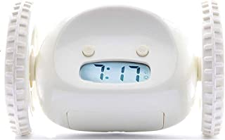 HW Alarm Clock The Original on Wheels for Adults and Kids Cool, Fun Jump, Chase, Run-Away, Move, Rolling (Color : White)
